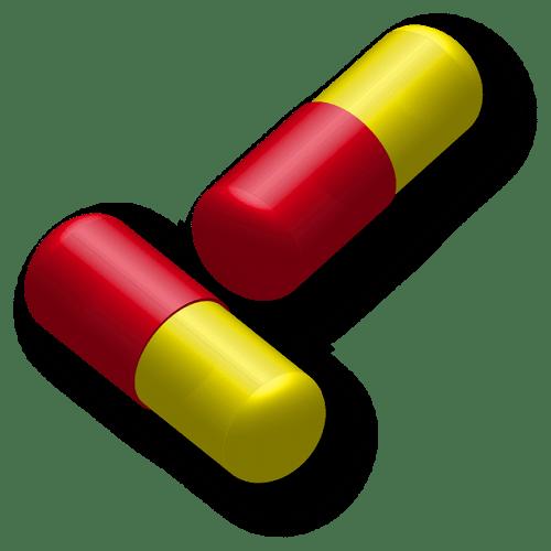 capsule verte et rouge contenant des poudres des ingrédients médicinaux