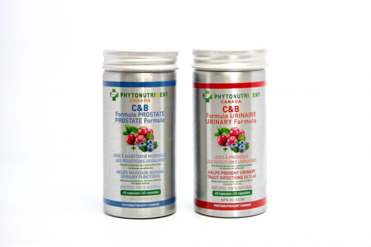 flacons des capsules produits C&B Formule Urinaire et Formule Prostate