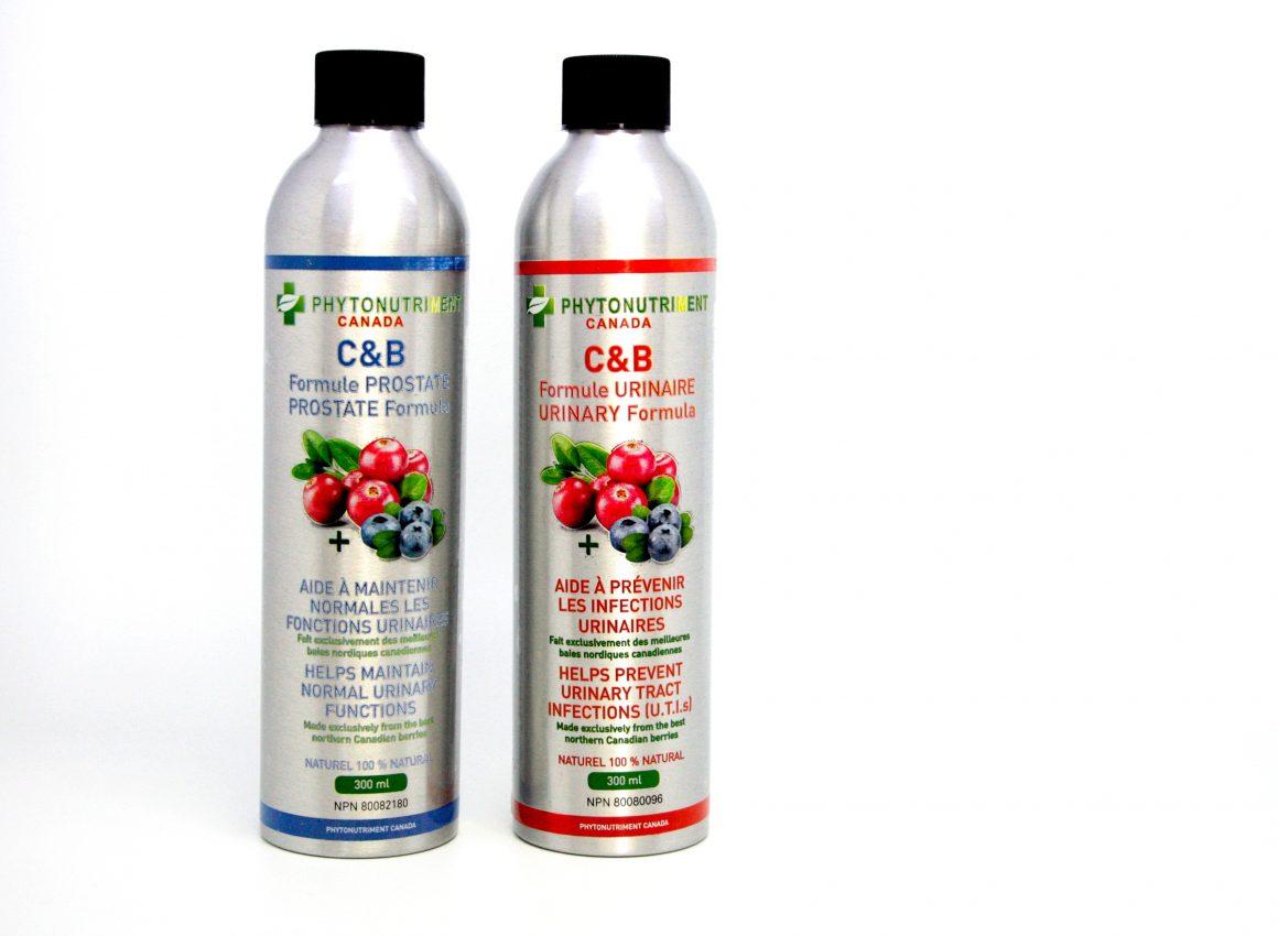 2 bouteilles de 300ml de C&B formule prostate et formule Urinaire